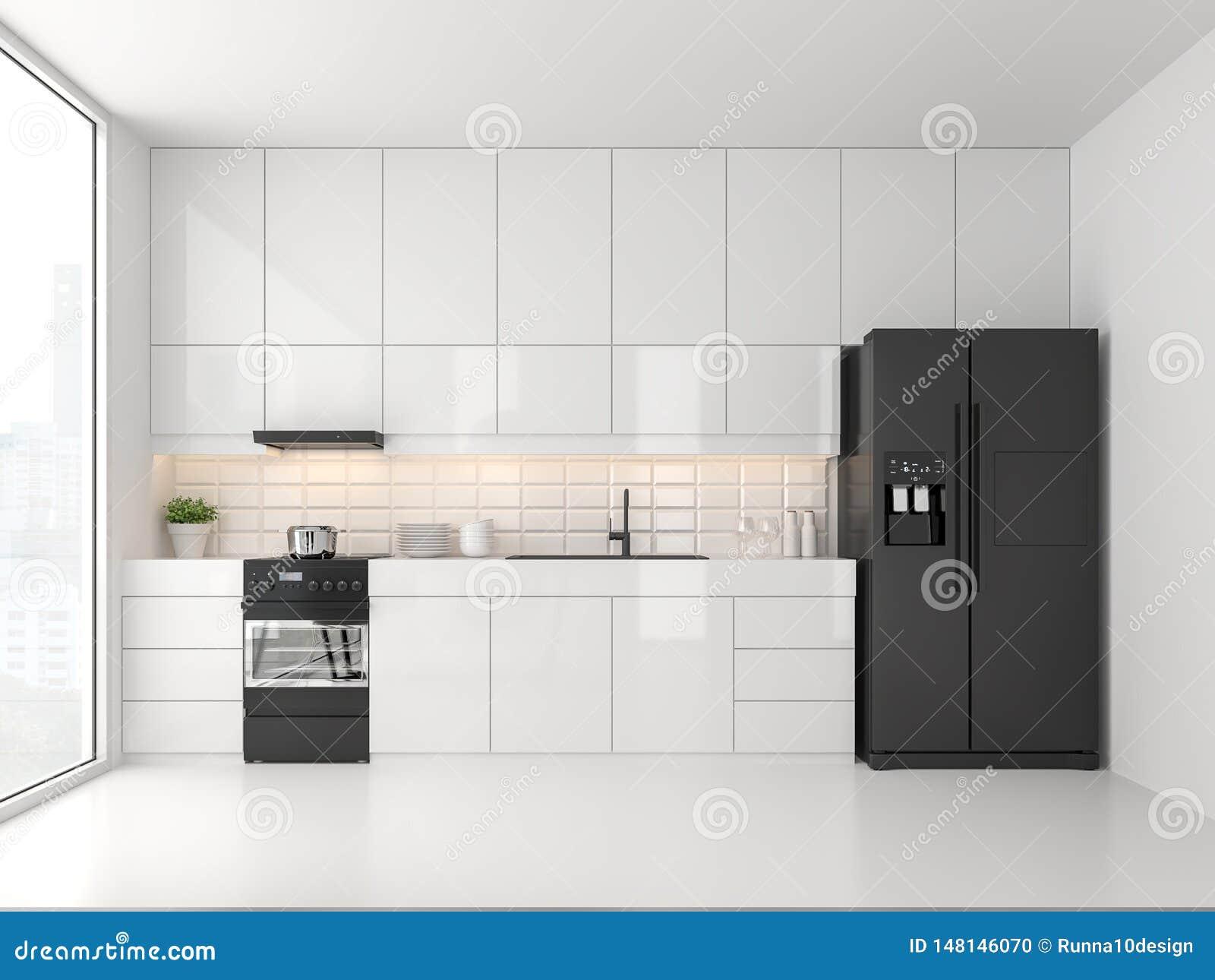 Minimal Style Kitchen 3d Render Stock Illustration Illustration Of Design Glass 148146070