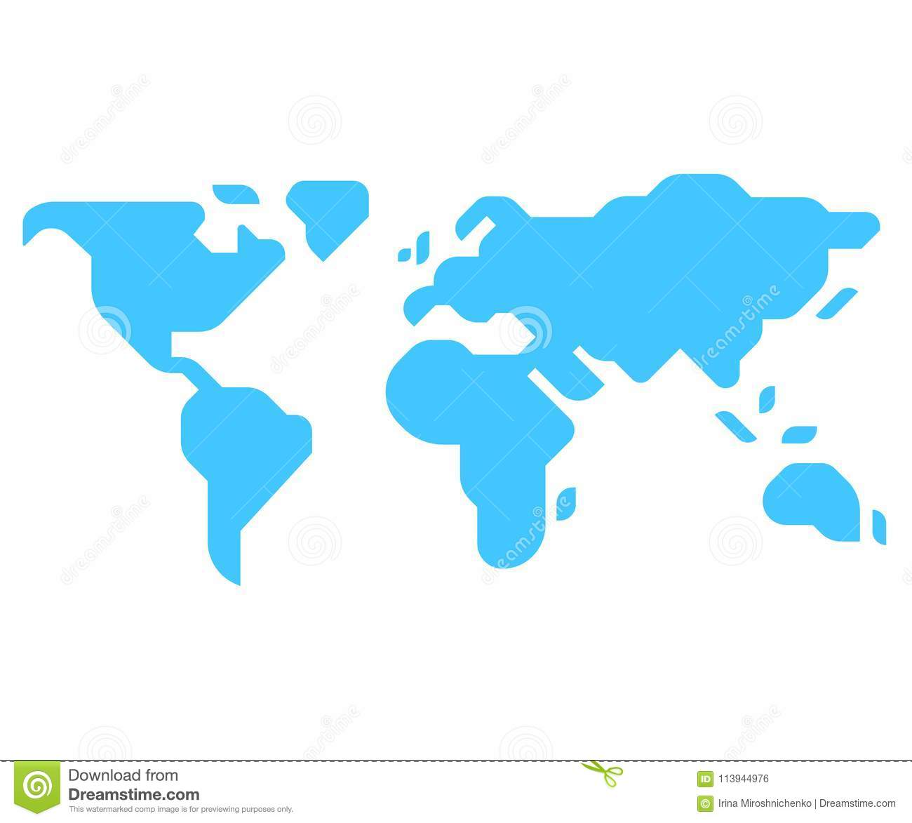 Minimal Style World Map Stock Vector Illustration Of Chart 113944976