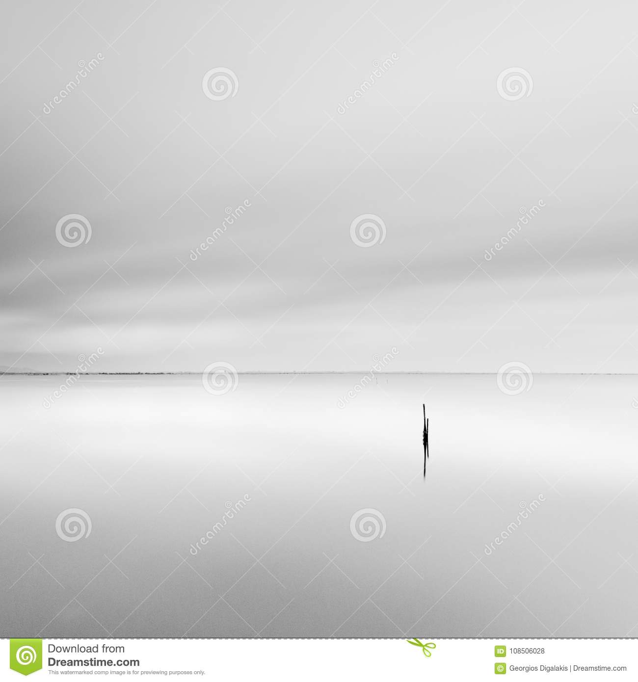 Minimal waterscape with pillar