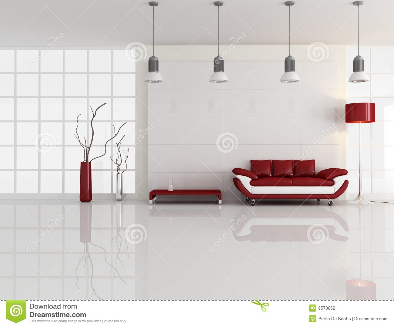 Minimal White And Red Interior Stock Illustration - Image: 9570062