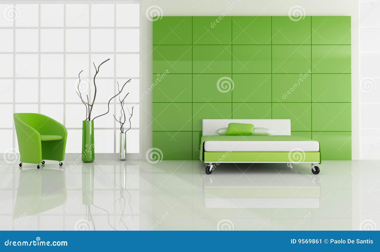 Minimale Groene Slaapkamer Stock Afbeelding - Afbeelding: 9569861