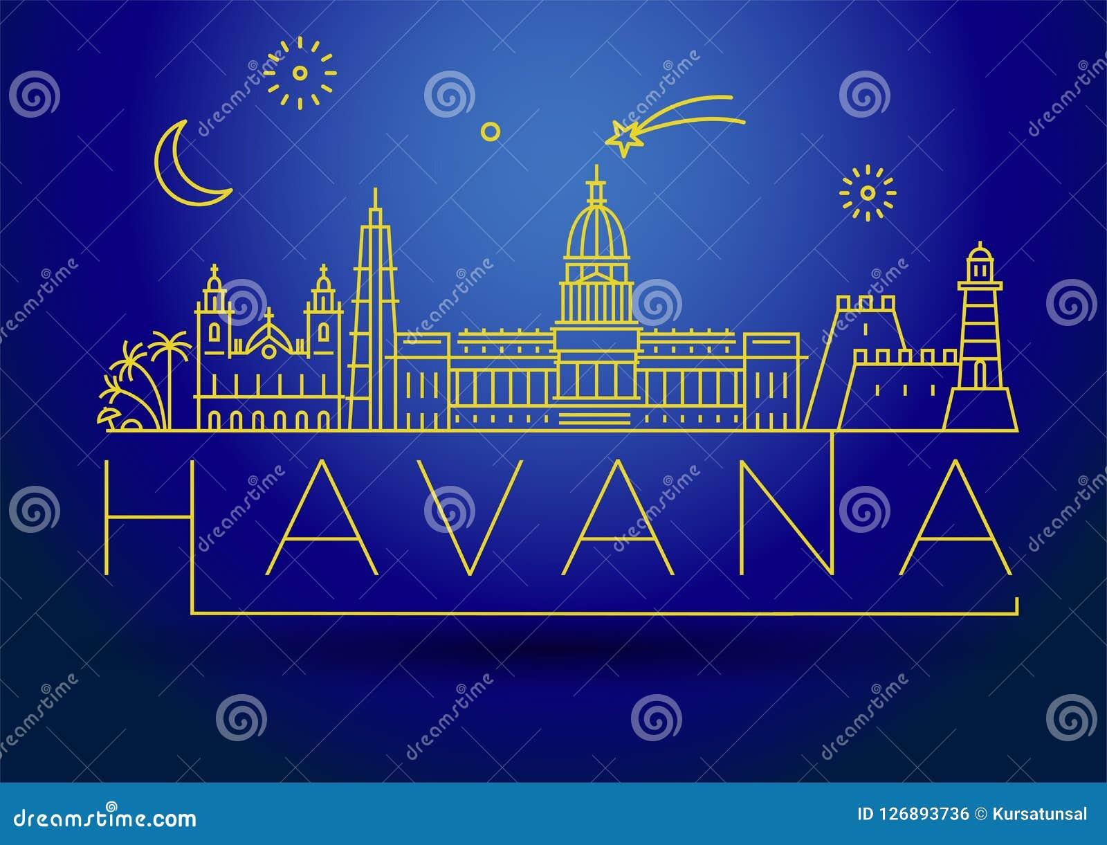 Minimale Havana City Linear Skyline mit typografischem Entwurf
