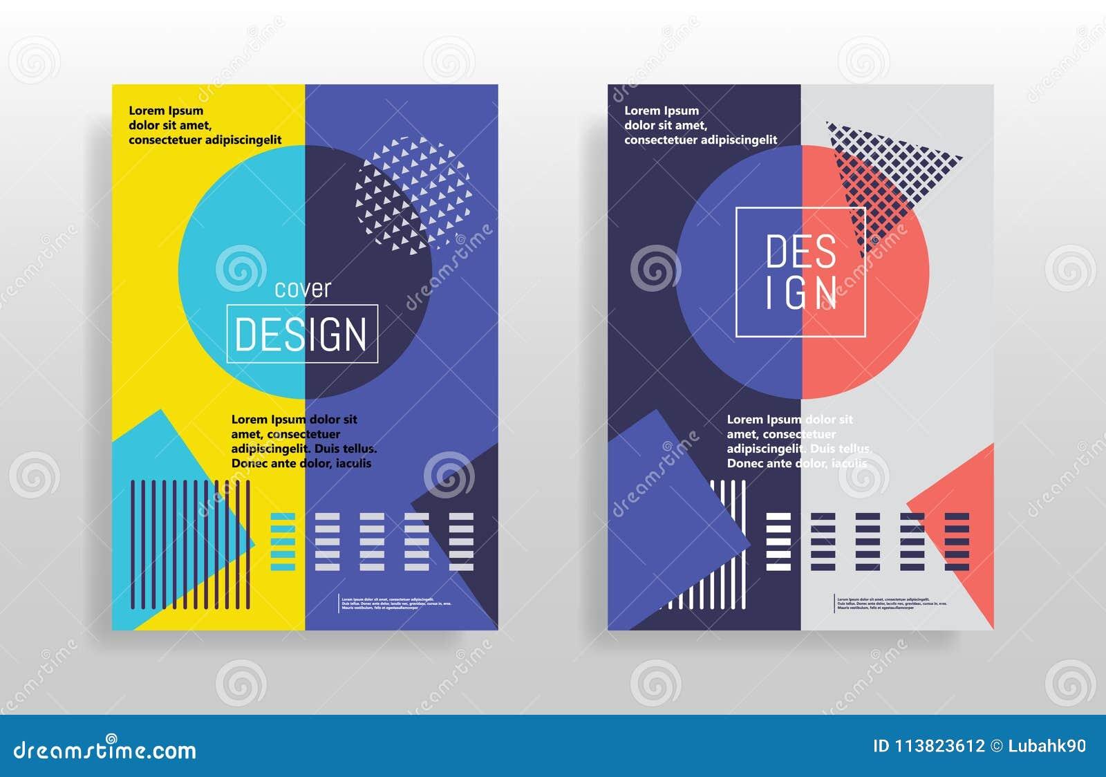 Minimaler abstrakter Designposter Abdeckung Schabloneen stellten mit grafischen geometrischen Elementen der Bauhaus-, Memphis- un
