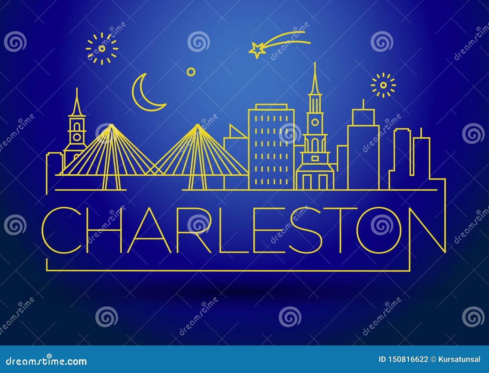 Minimaler Charleston Linear City Skyline mit typografischem Entwurf
