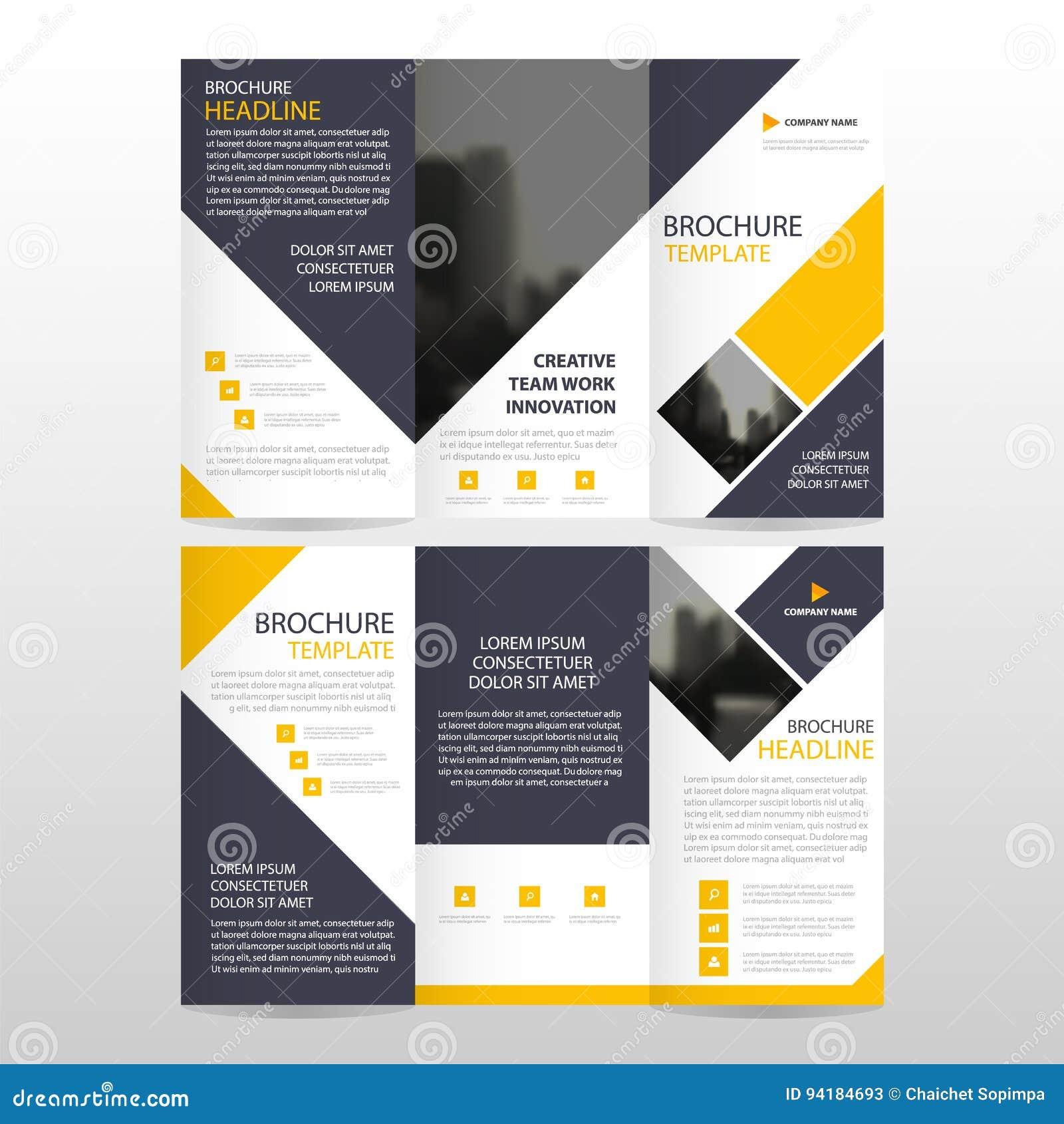 Minimaler flacher Designsatz des gelben quadratischen Geschäft dreifachgefalteten Broschüren-Broschüren-Fliegerberichtsschablonen