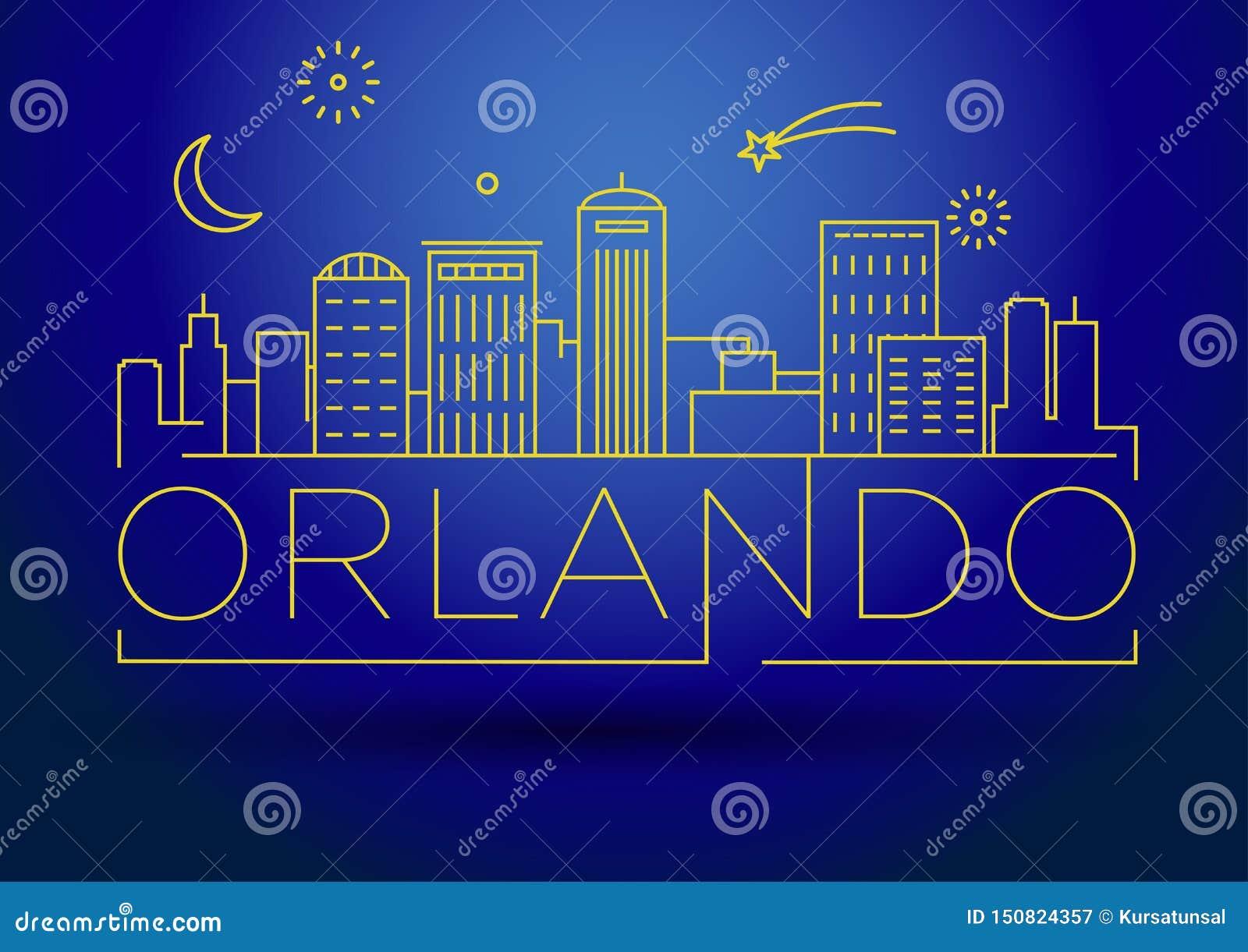 Minimaler Orlando Linear City Skyline mit typografischem Entwurf