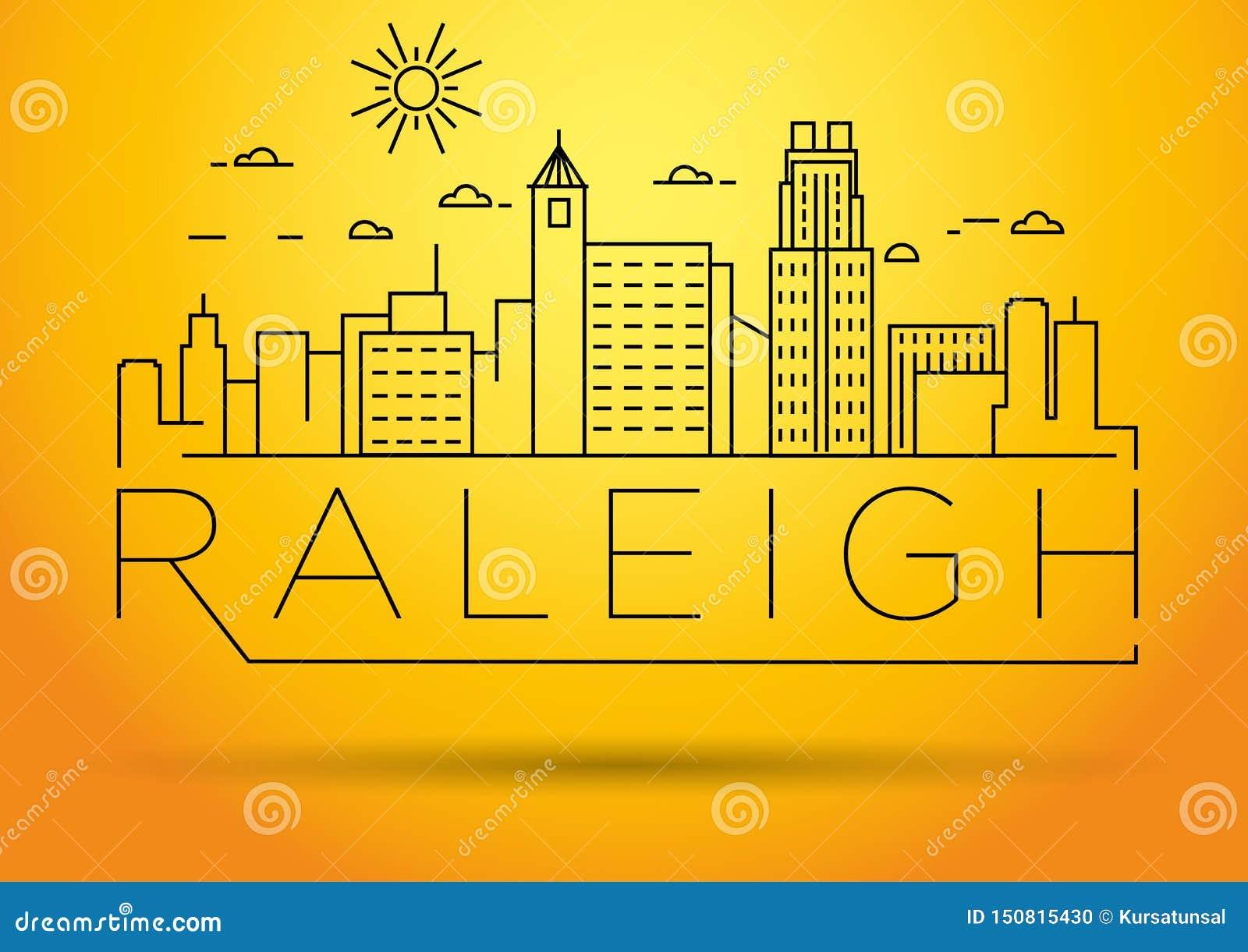 Minimaler Raleigh Linear City Skyline mit typografischem Entwurf