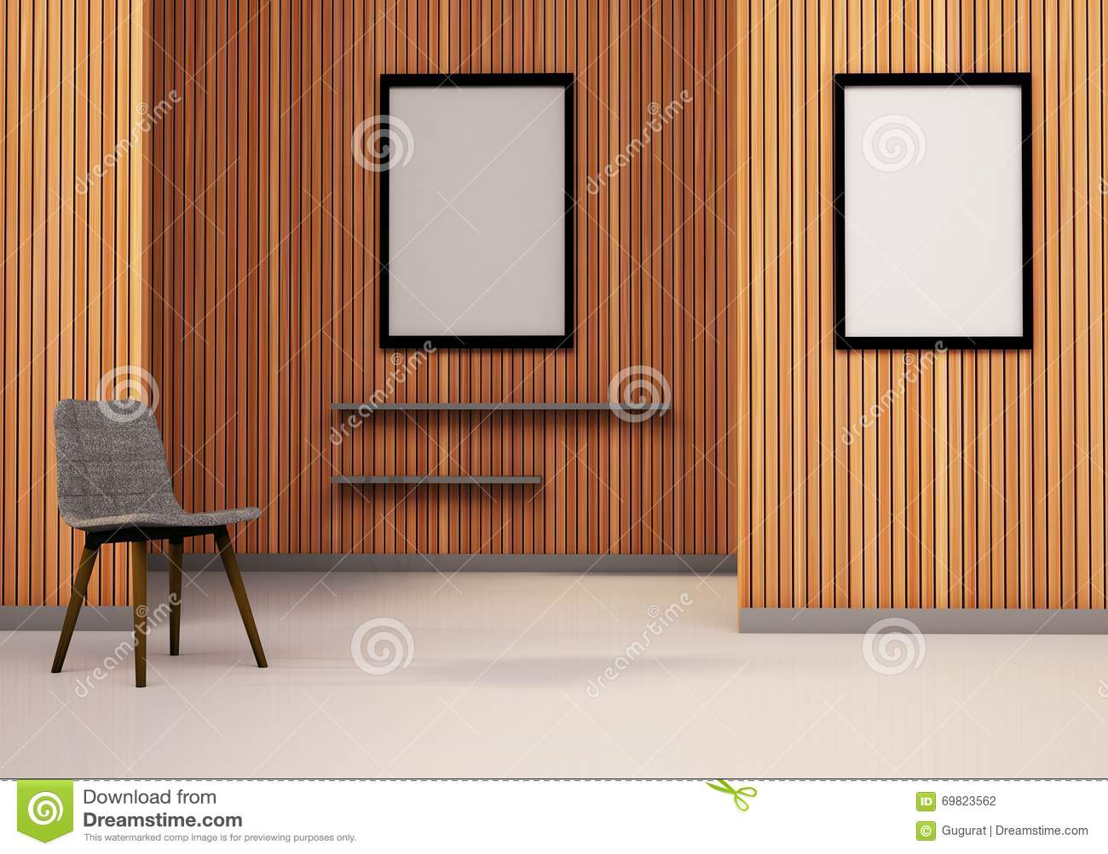 Minimaler Raum-Stuhl Und Bilderrahmen Minimale Kunst Stock Abbildung ...
