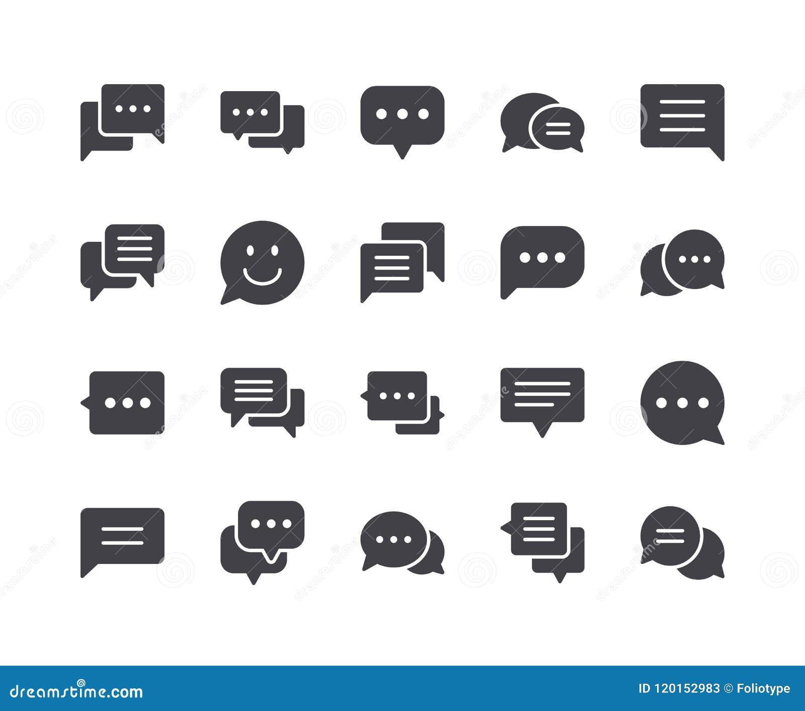 Minimaler Satz Chat-Blase Glyph-Ikonen
