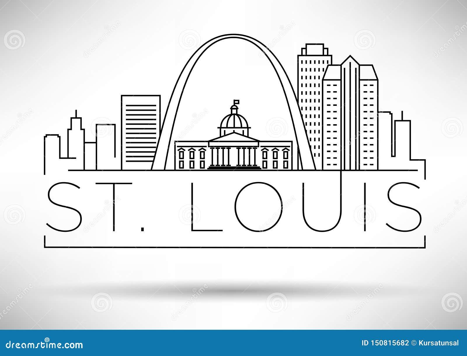 Minimales St. Louis Linear City Skyline mit typografischem Entwurf