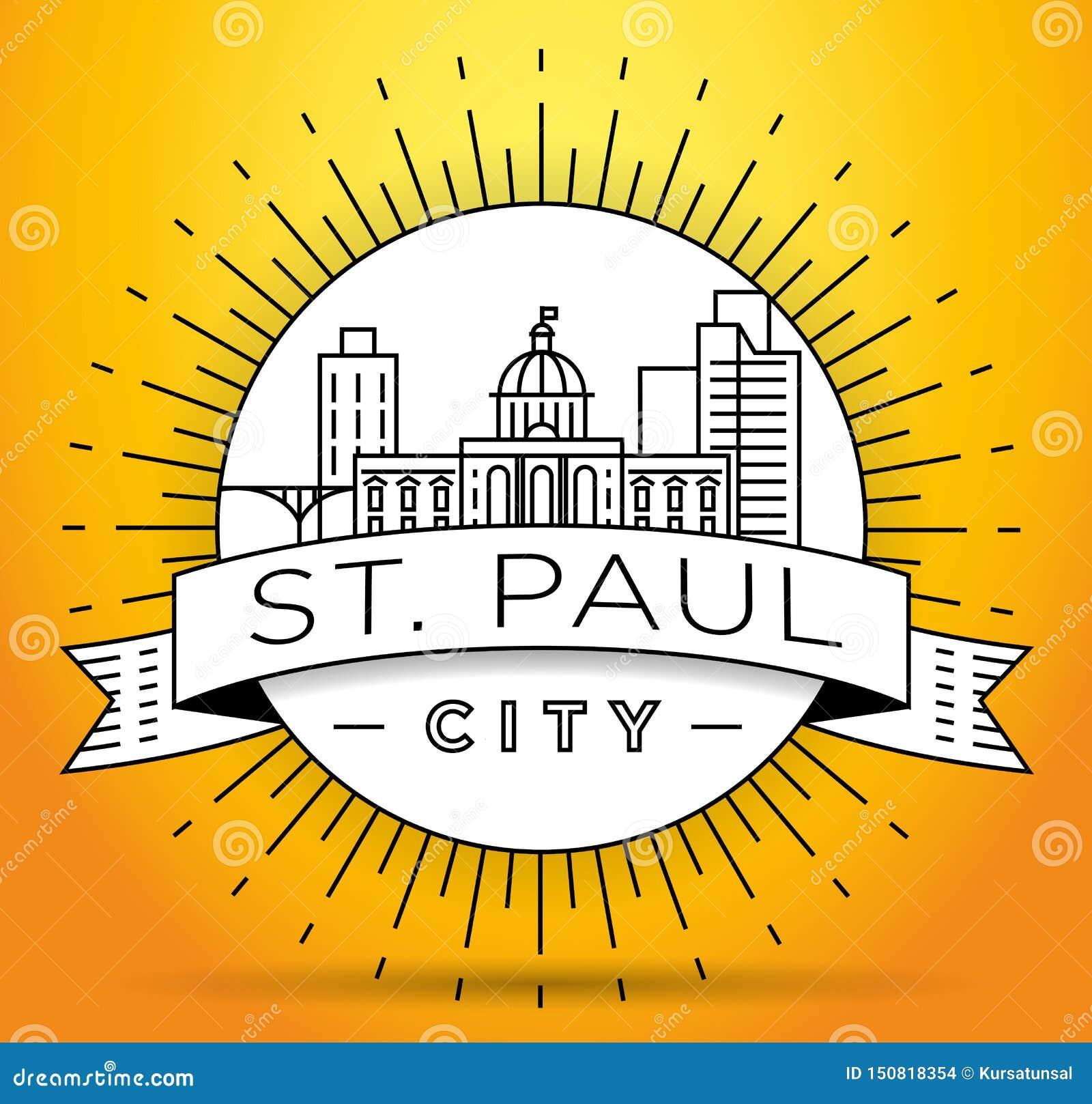 Minimales St. Paul City Linear Skyline mit typografischem Entwurf