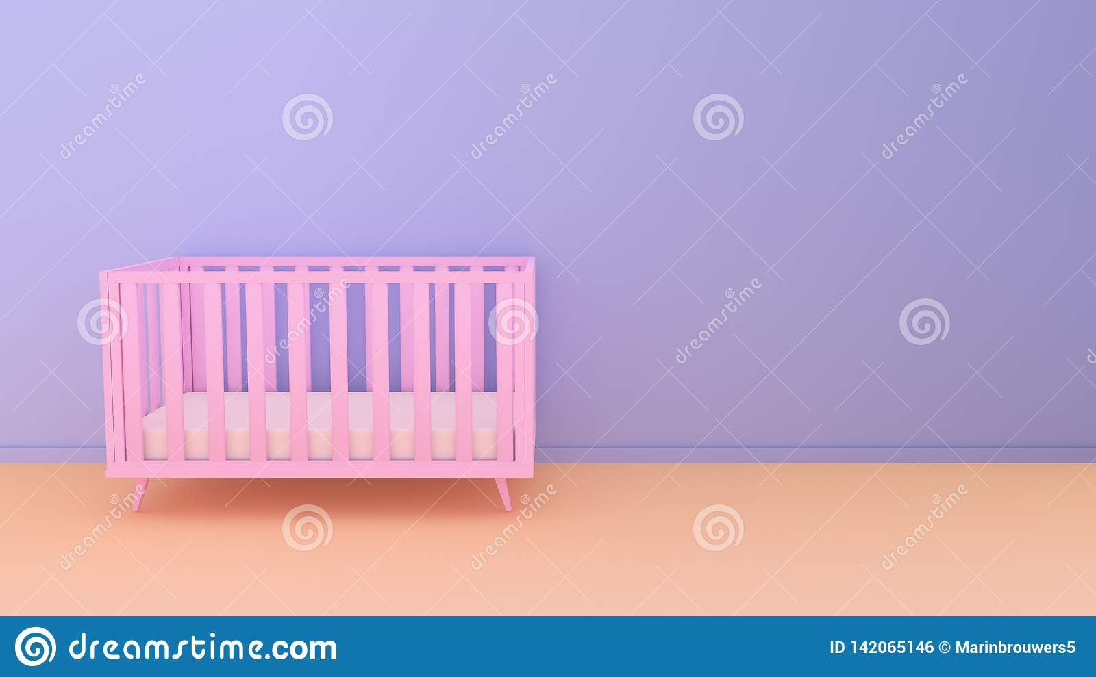 Minimalism baby room interior concept with a pink crib