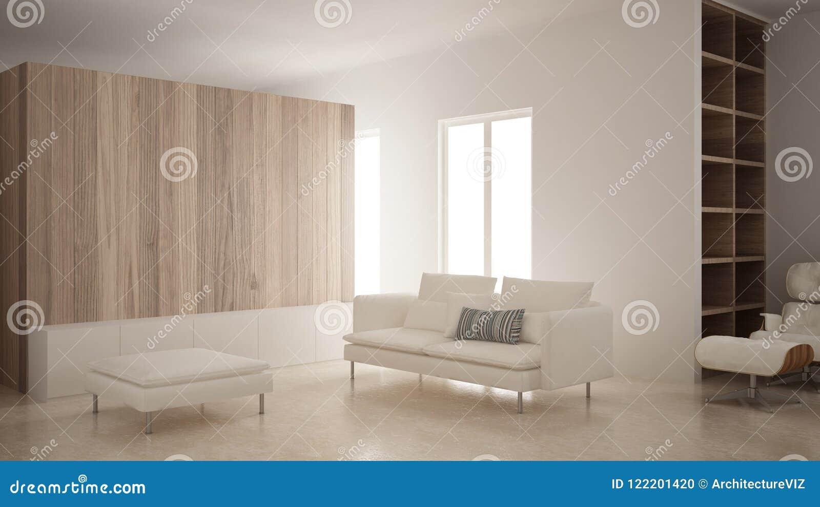 Design Bank Met Chaise Longue.Minimalism Moderne Woonkamer Met Houten Muur Bank Chaise Longue