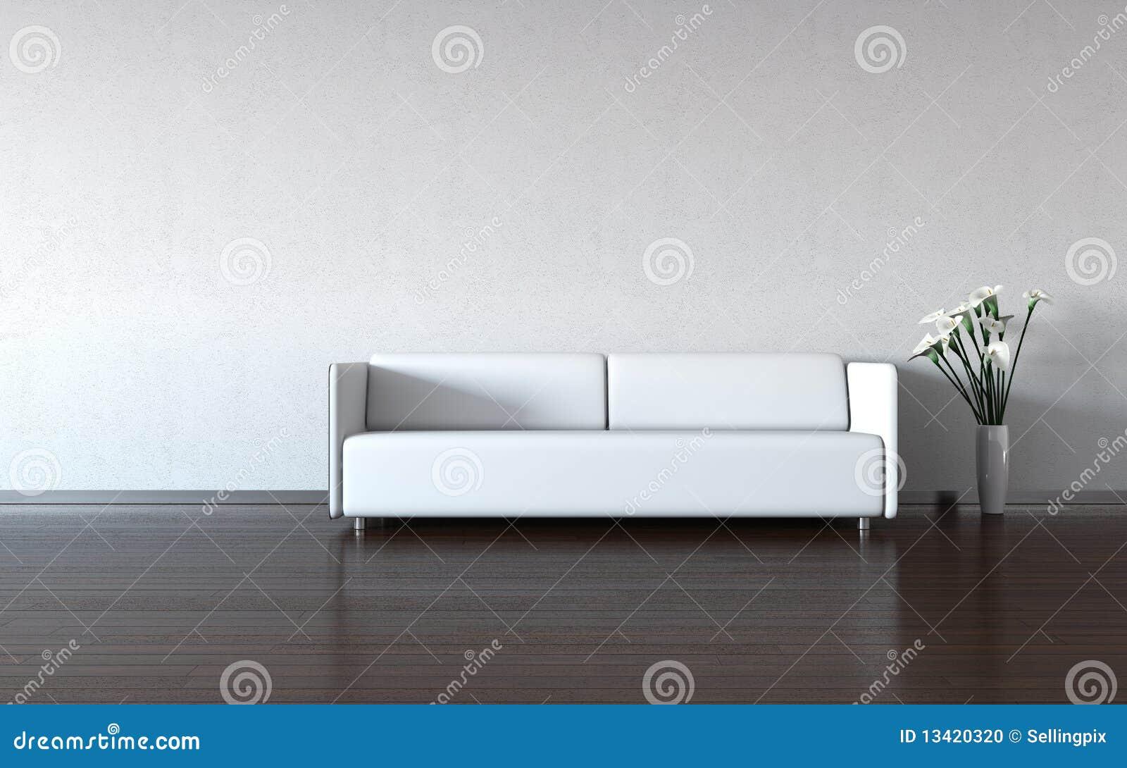 Minimalism: strato e vaso bianchi dalla parete
