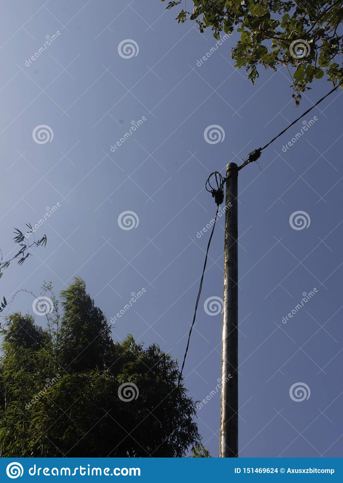 Minimalism Style active Electric Pole with a cables