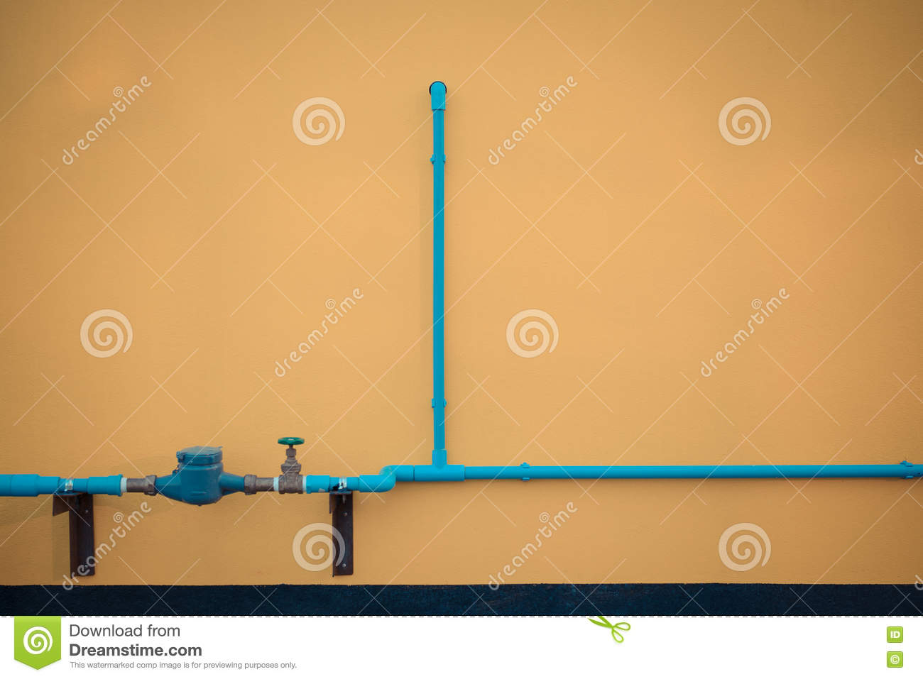 Minimalism Style, Blue Water Tube With Valve On The Wall. Stock ...