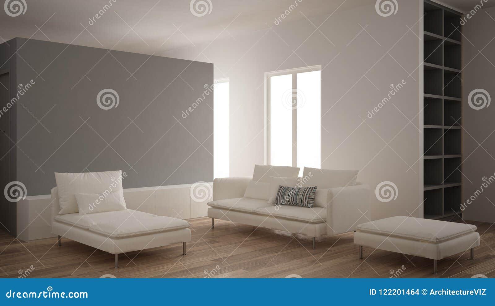Minimalisme, Salon Moderne Avec Le Mur Gris De Plâtre, Sofa ...
