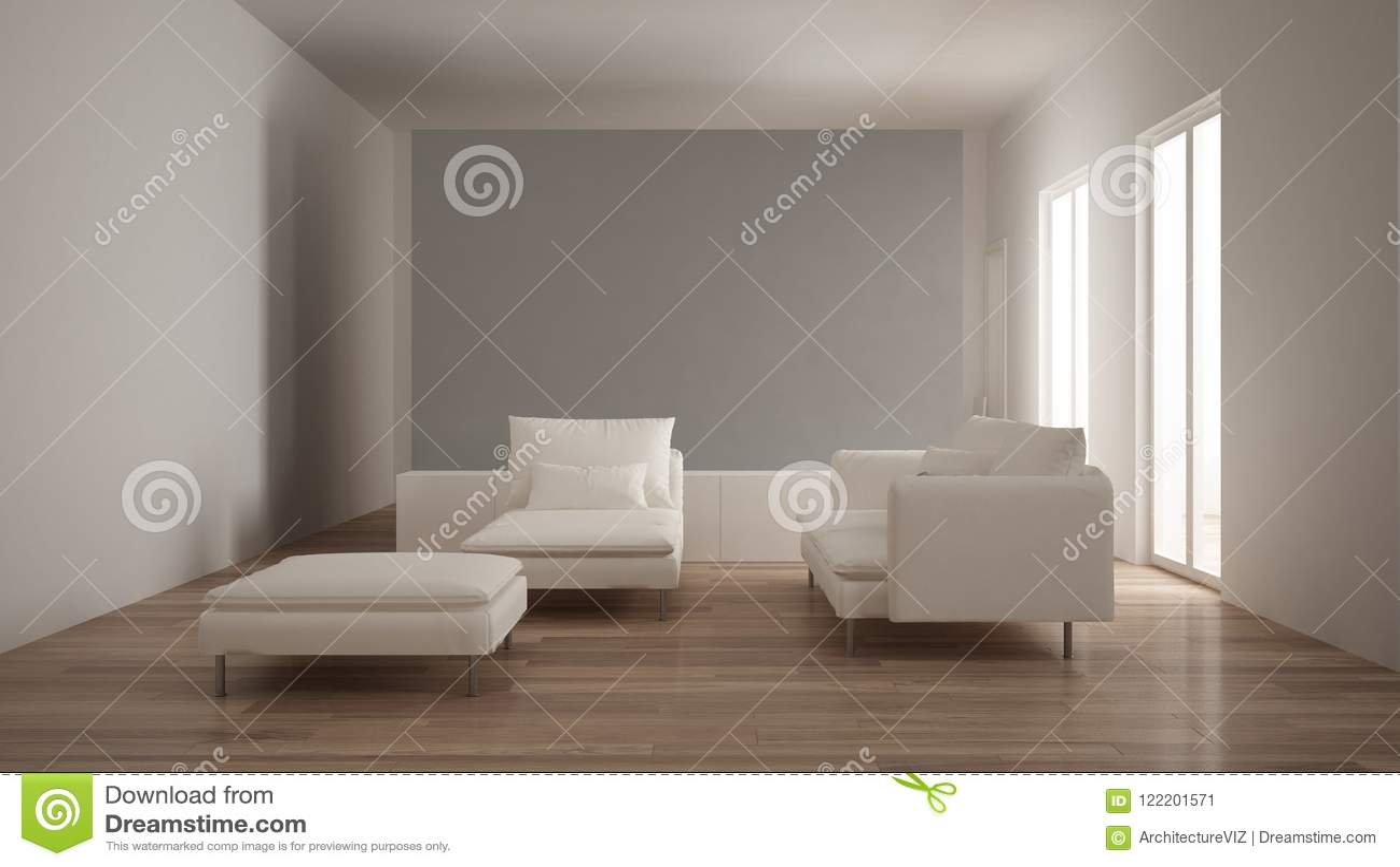 Minimalisme, Salon Moderne Avec Le Mur Gris De Plâtre, Sofa, Chaise Longue  Et