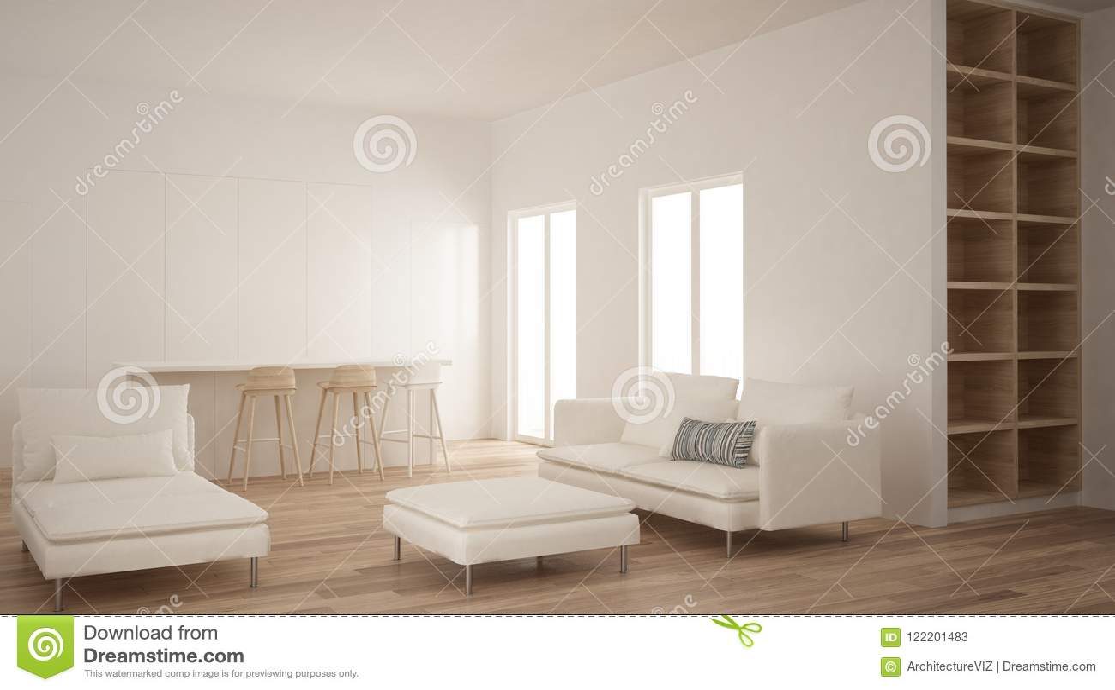 Cucina Legno E Bianco minimalismo, stanza vuota moderna con la cucina nascosta