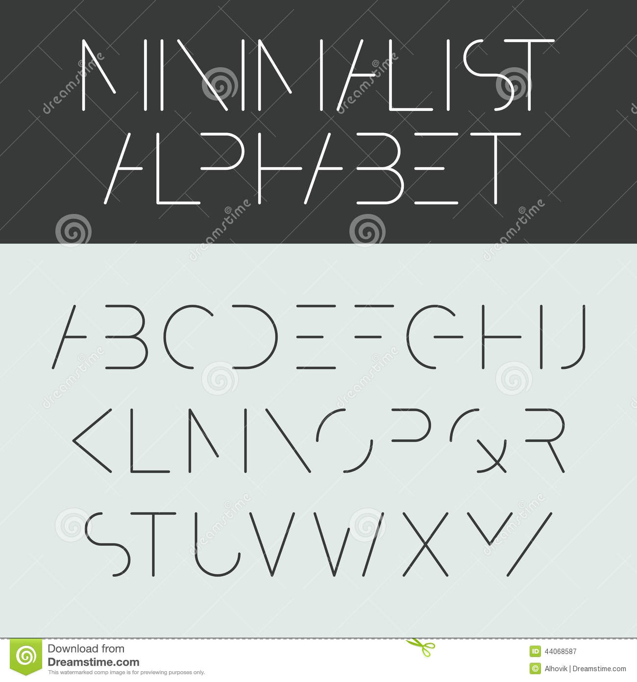 Minimalist alphabet stock vector image of illustration Minimalist typography