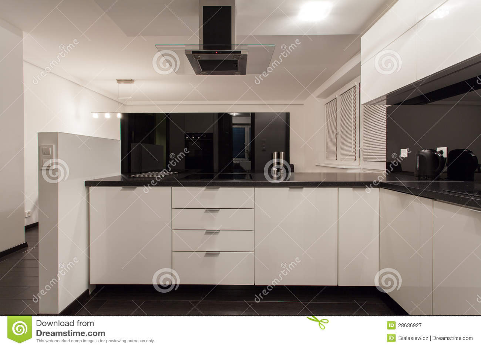 minimalist apartment - small kitchen royalty free stock