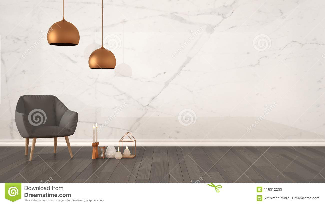 Minimalist Architect Designer Concept Background With Marble Wall