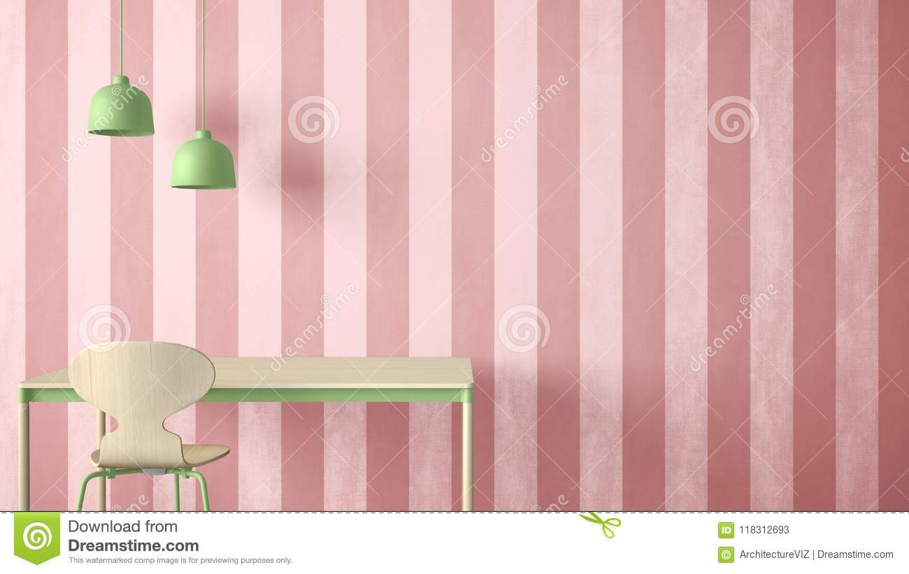 Minimalist Architect Designer Concept Table Desk And Chair Kitchen Or Office With Lamps On Striped Wallpaper Background Pink Green Pastel Interior