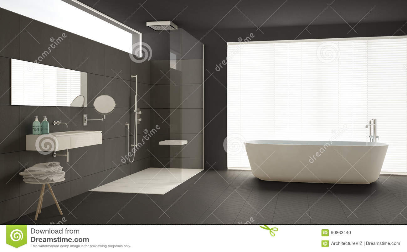 Download Minimalist Bathroom With Bathtub And Shower Parquet Floor M Stock Photo