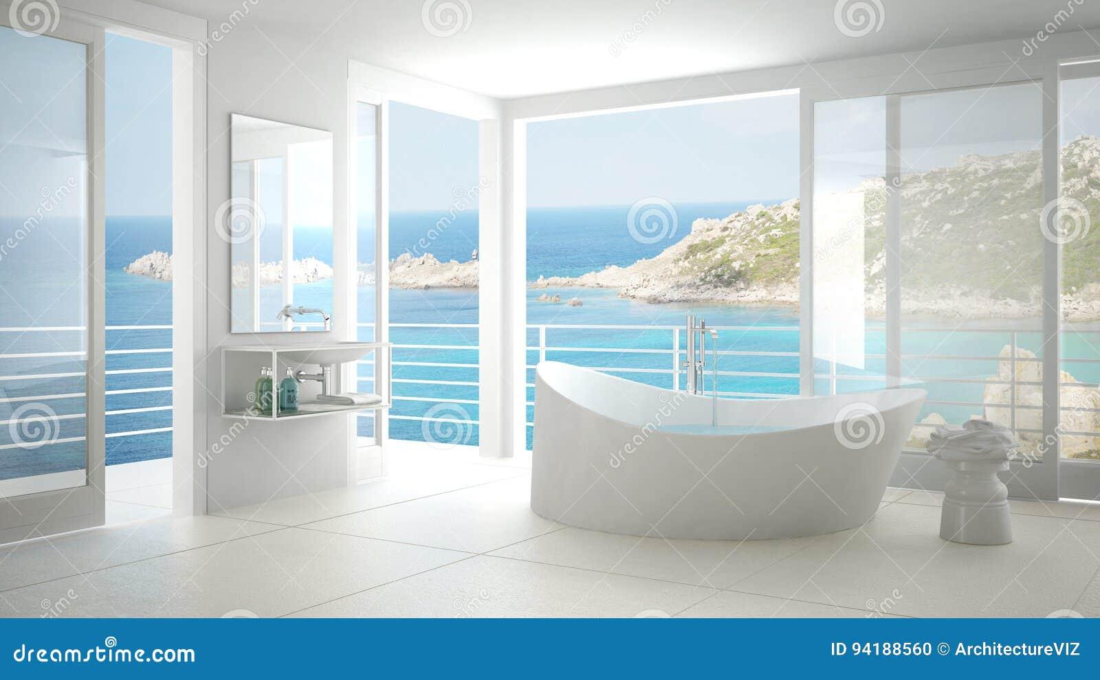 Minimalist Bathroom With Big Bath Tub And Panoramic Window Stock ...