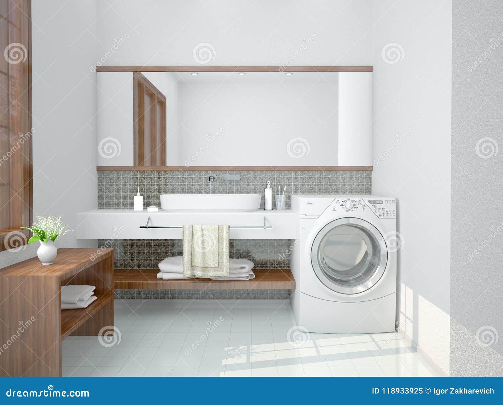 minimalist bathroom with a washing machine stock. Black Bedroom Furniture Sets. Home Design Ideas