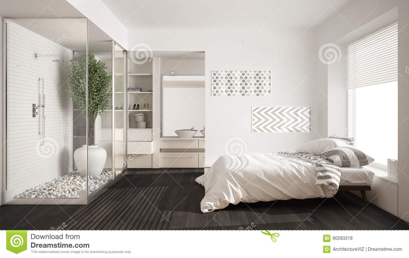 Minimalist Bedroom And Bathroom With Shower Walk In Closet Classic Scandinavian Interior Design