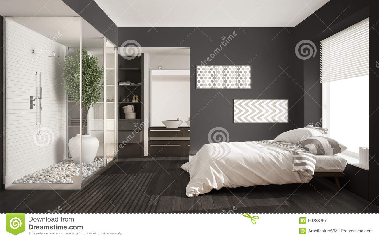 minimalist bedroom and bathroom with shower and walk in closet rh dreamstime com
