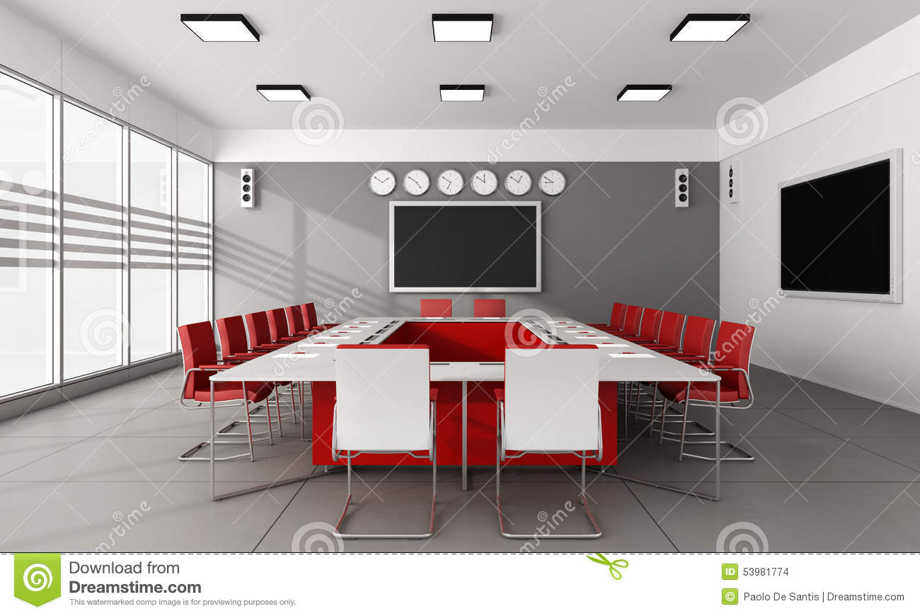 Contemporary board room with large meeting table and red chairs - 3D ...