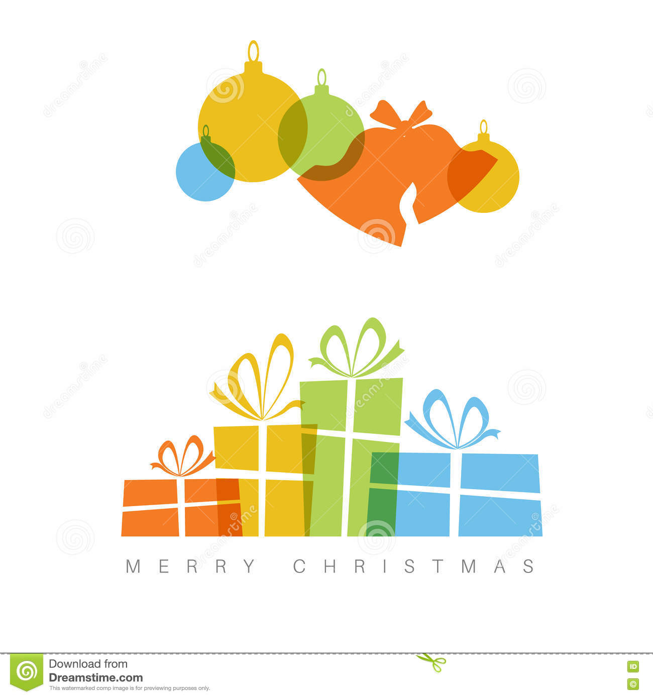 Minimalist christmas card with decorations and gifts boxes for Minimalist christmas