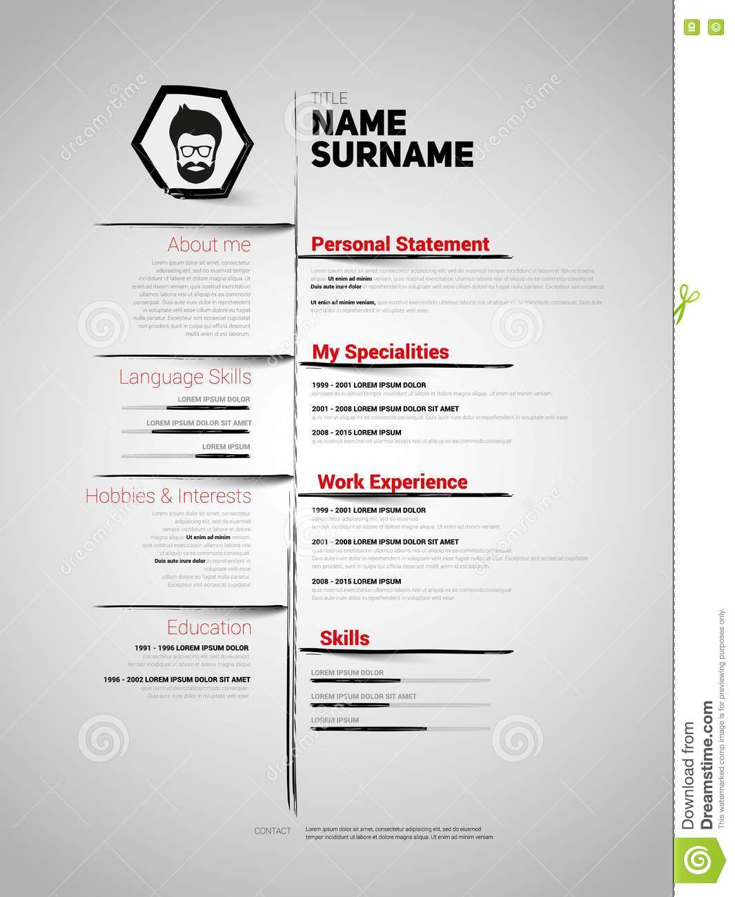 minimalist cv  resume template stock illustration