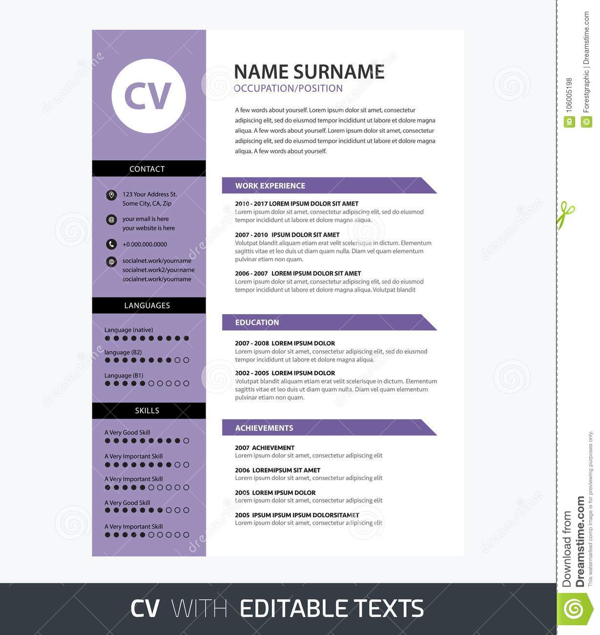 minimalist cv template ultra violet color