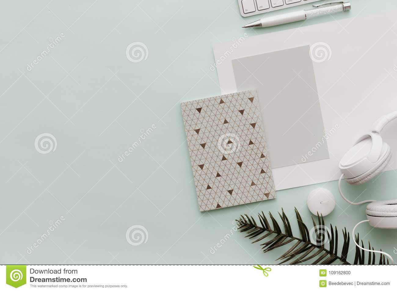 Minimalist Flat Lay Hipster Desktop Blogger Pastel Background With Notebook Stock Photo Image Of Items Corporate 109162800