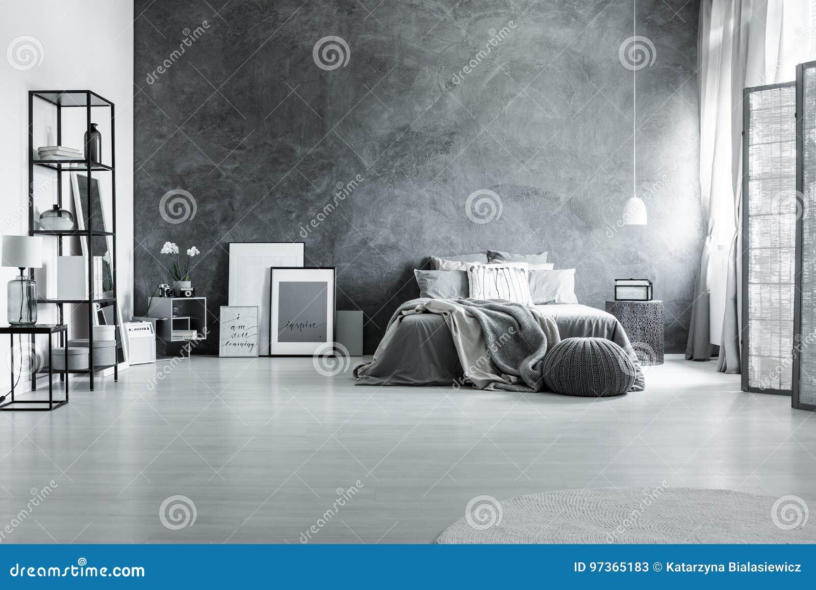 Minimalist And Gray Loft Bedroom Stock Image Image Of Interior - Gray-bedroom-minimalist