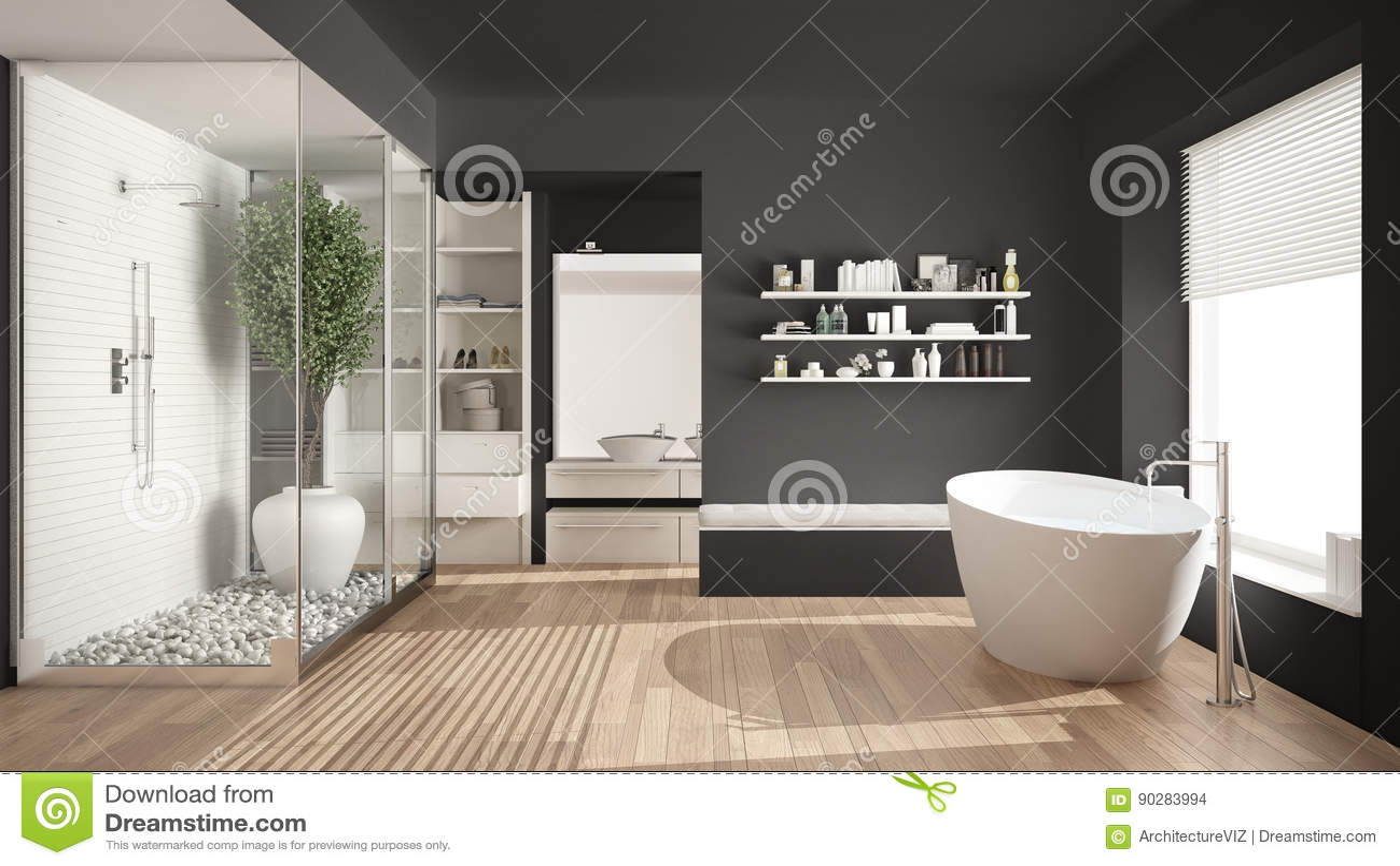 Minimalist Gray Scandinavian Bathroom With Walk In Closet, Classic  Scandinavian Interior Design