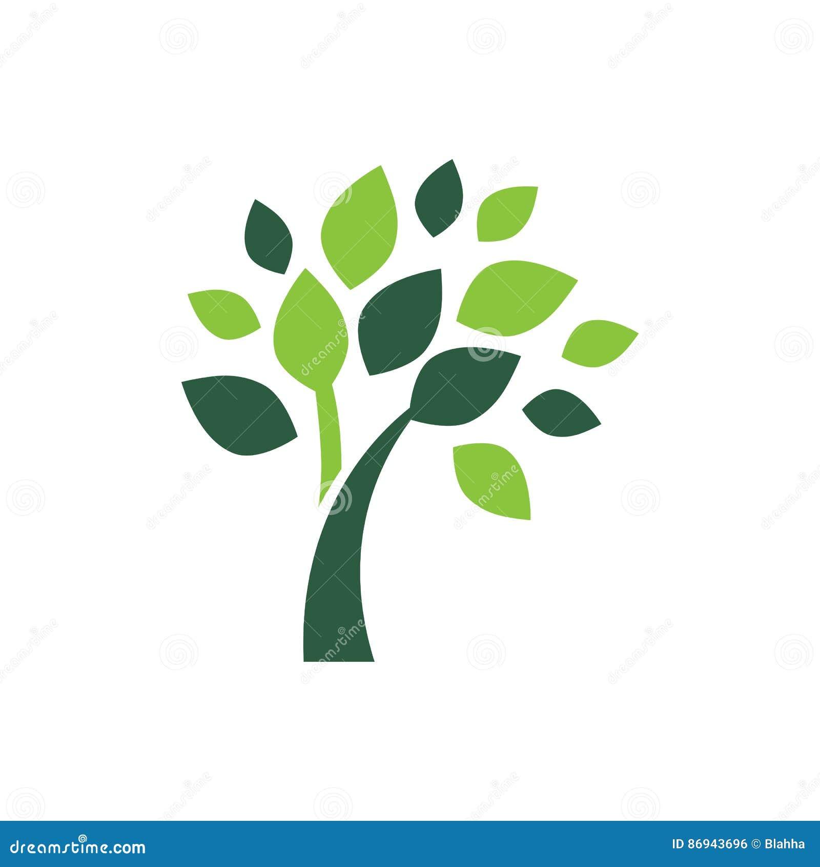 Minimalist green tree logo symbol stock illustration for Illustration minimaliste