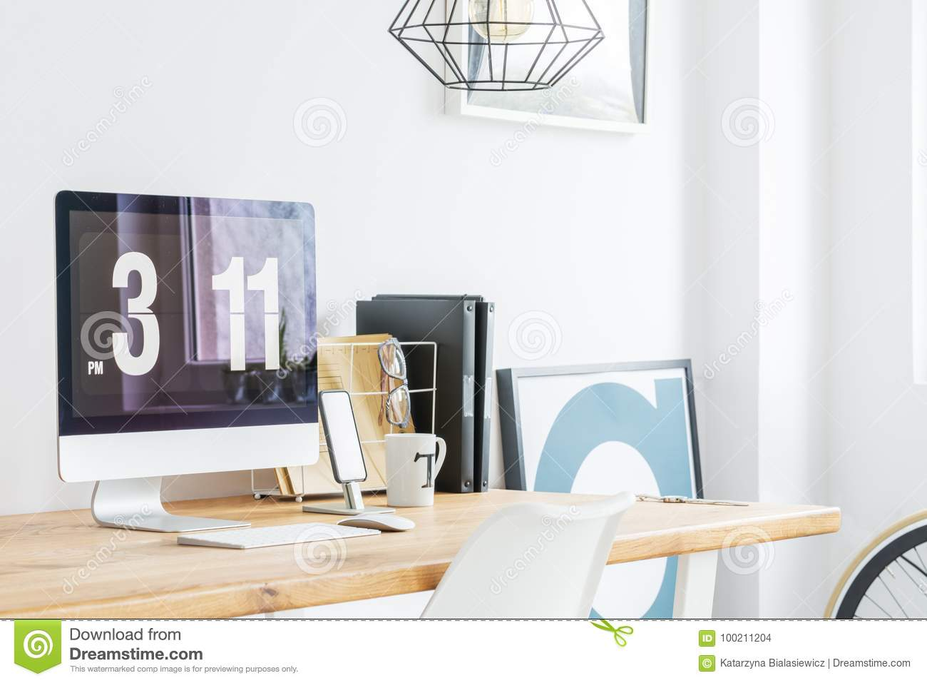 Download Minimalist Home Office With Computer Stock Photo   Image Of  Glasses, Blogger: 100211204