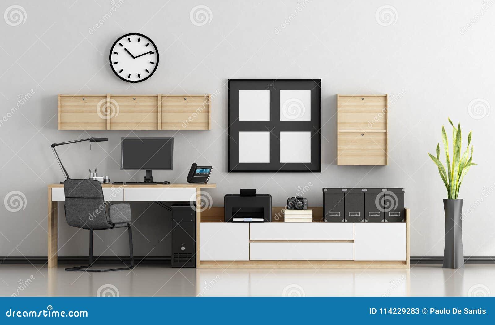 Minimalist home workplace stock illustration. Illustration of office ...