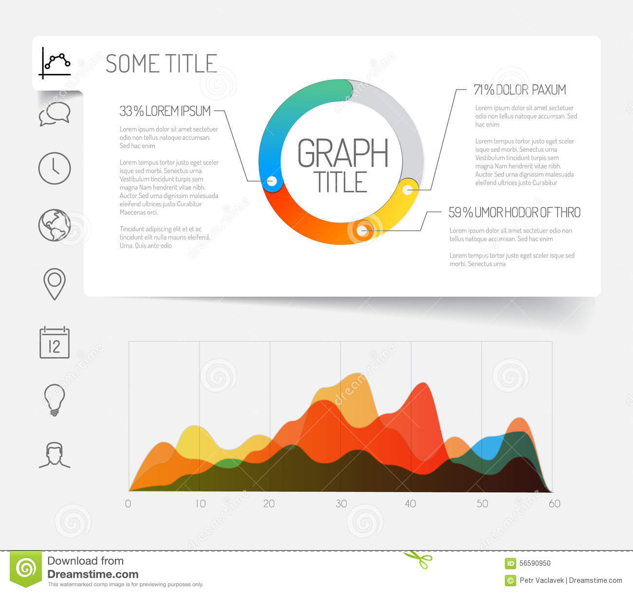 Minimalist Infographic Dashboard Template Stock Vector
