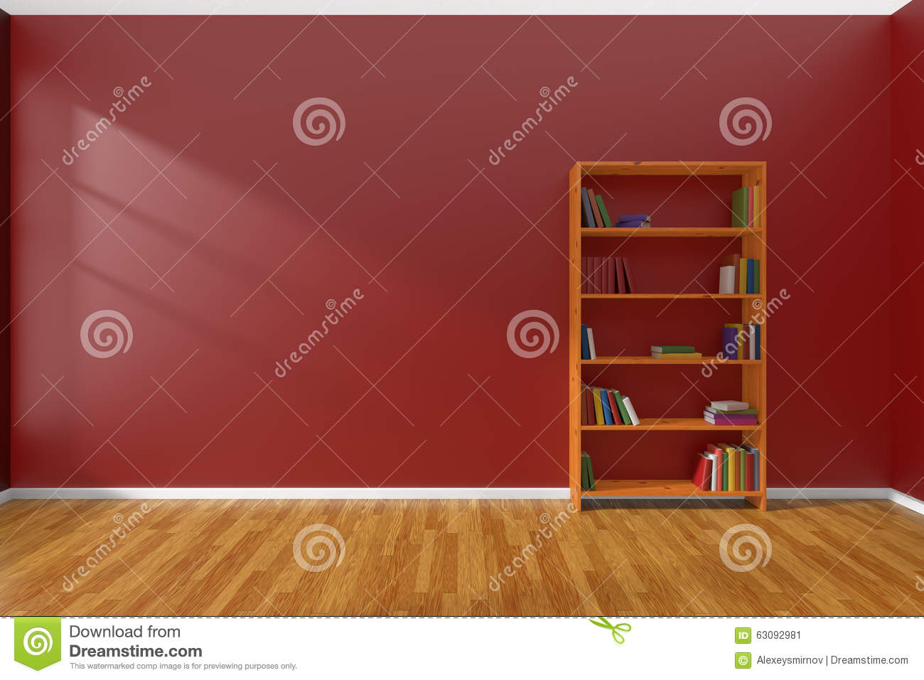 Minimalist interior of empty red room with