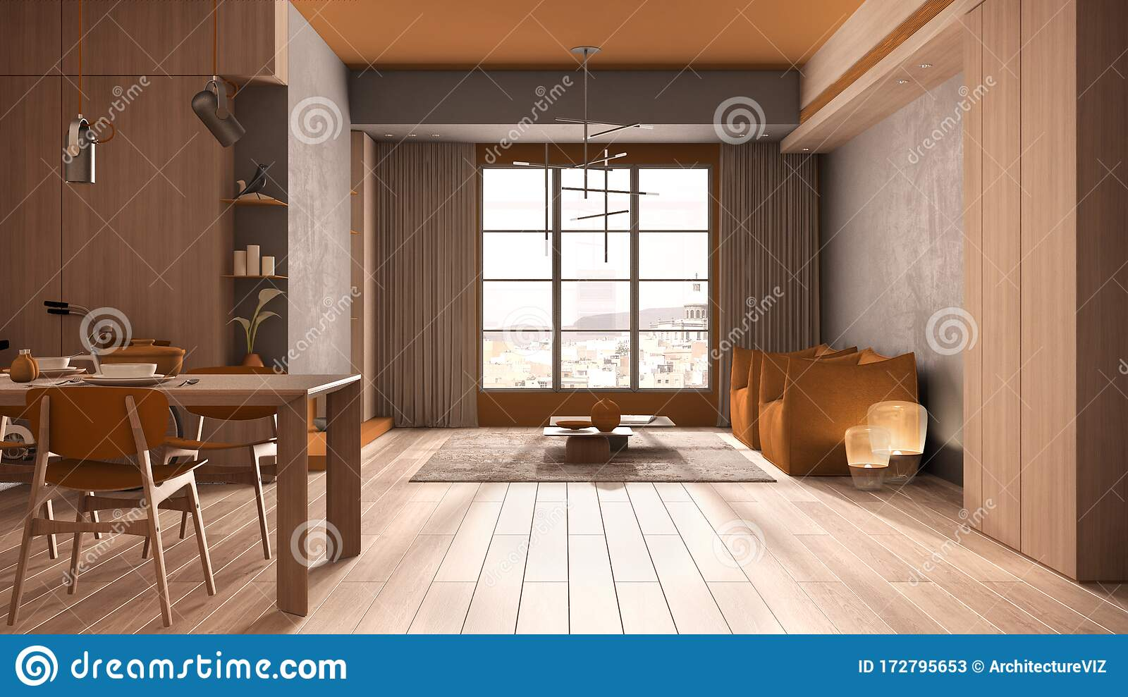 Minimalist Kitchen With Dining Room In Orange Tones With Wooden And Concrete Details Dining Table Laid For Two Chairs Parquet Stock Illustration Illustration Of Kitchen Dining 172795653