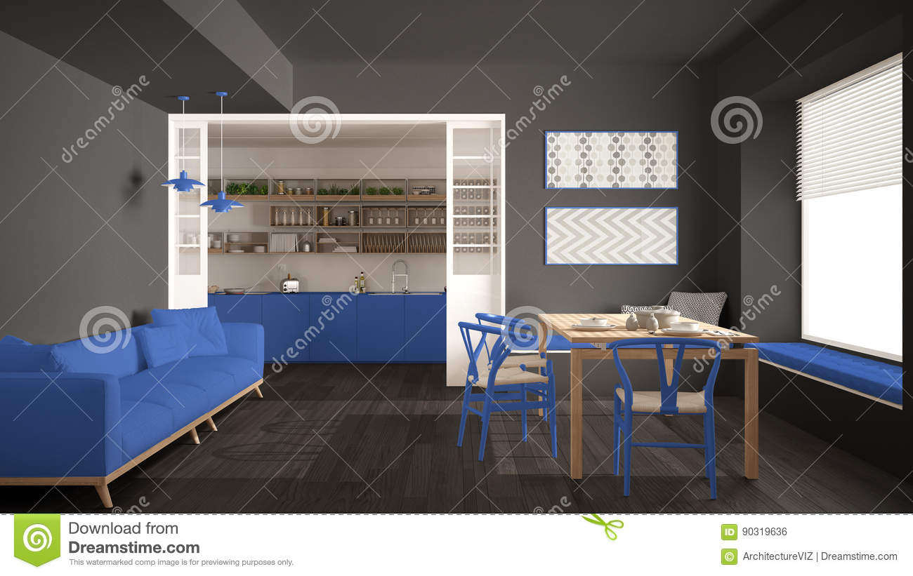 Minimalist Kitchen And Living Room With Sofa Table And Chairs Stock Photo Image Of Clean Kitchen 90319636