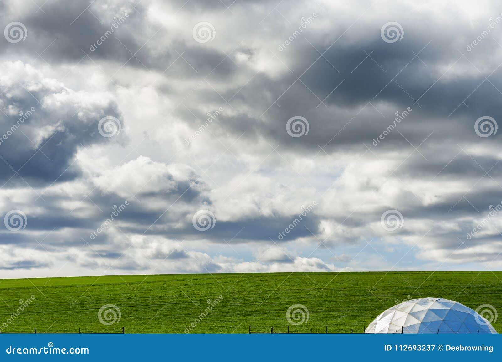 Minimalist Farm Ground Under Big Sky Stock Image Image Of