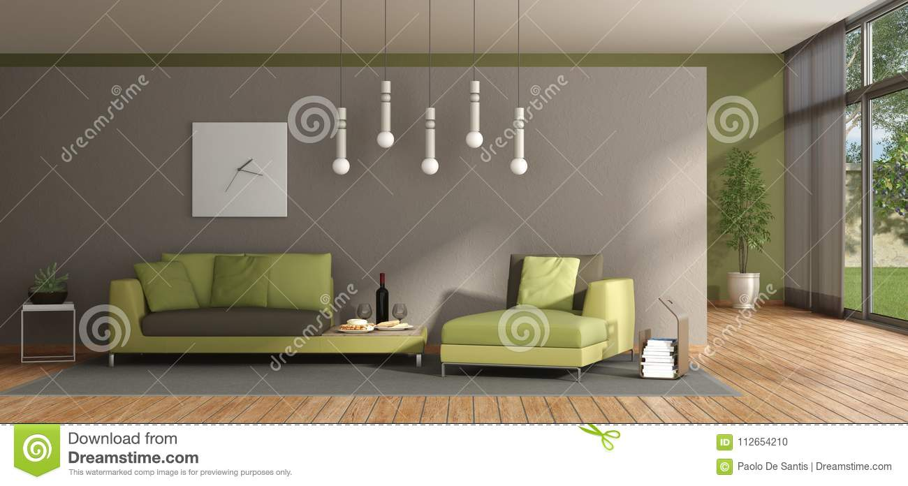 Minimalist Living Room With Green Sofa Stock Illustration