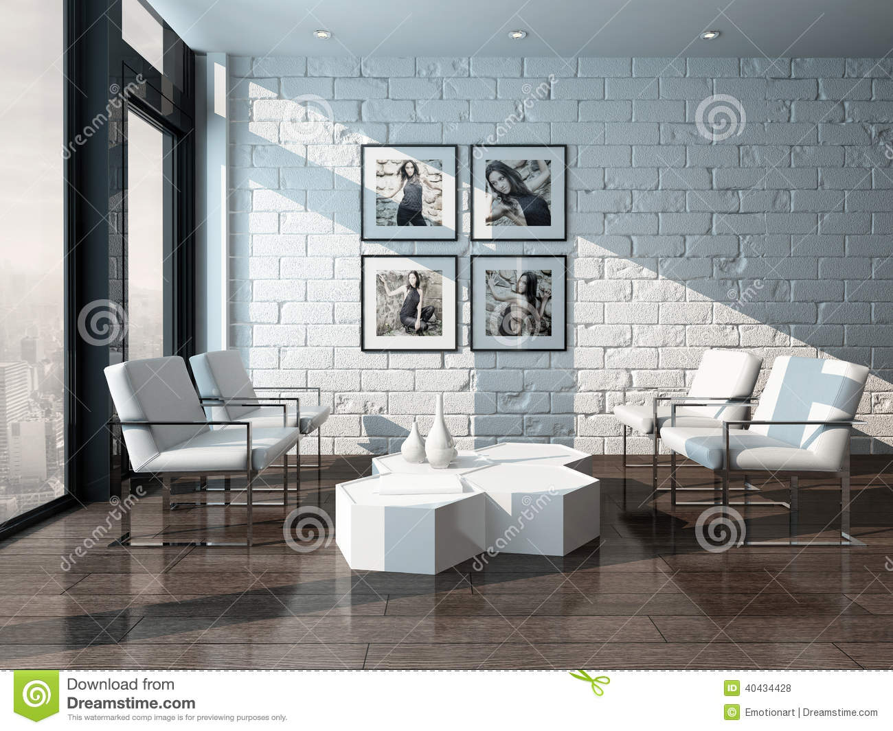 the brick living room furniture. Minimalist Living Room Interior With Brick Wall. Loft, Chair. The Furniture