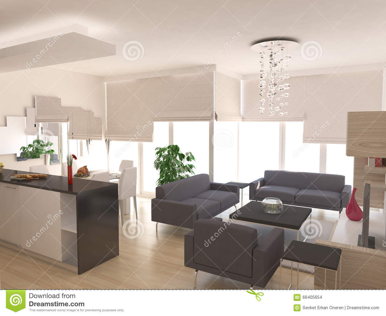 Minimalist Living Room Interior Design Stock Illustration